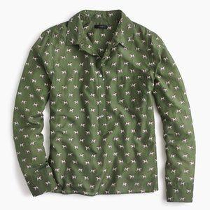 J Crew Popover Shirt Terrier Dog Print Green Silk